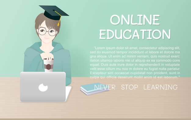 Modèle d'annonce de conception de bande dessinée pour l'éducation en ligne