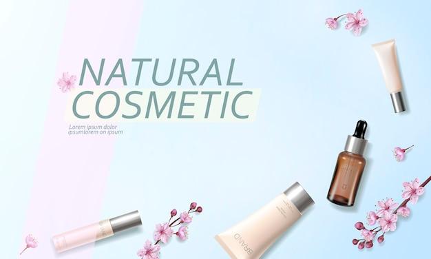 Modèle d'annonce cosmétique bio fleur de cerisier. skincare essence vitamine crème rose fleur de printemps