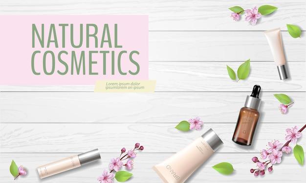 Modèle d'annonce cosmétique bio de vente de printemps fleur de cerisier. skincare essence rose printemps promo offre fleur 3d réaliste
