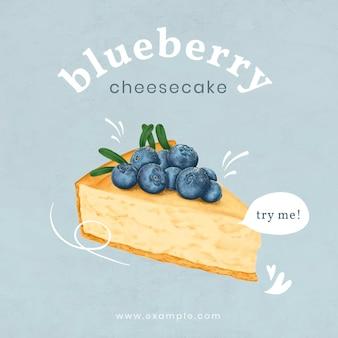 Modèle d'annonce instagram cheesecake dessiné à la main