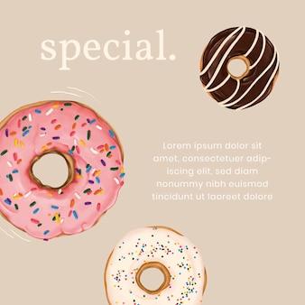 Modèle d'annonce instagram donut dessiné à la main