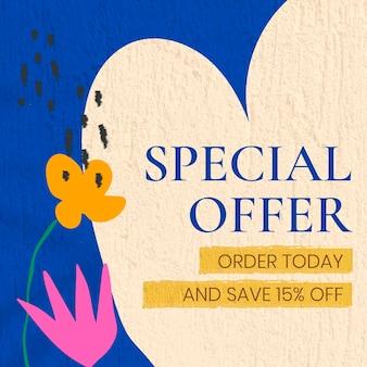 Modèle d'annonce instagram d'offre spéciale, vecteur de conception de vente et de marketing modifiable