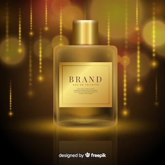 Modèle d'annonce de parfum de luxe réaliste