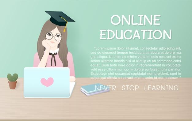 Modèle d'annonce pour le concept de l'éducation en ligne.