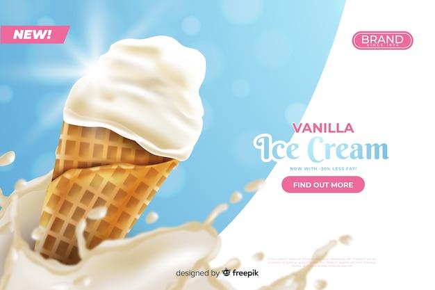 Modèle d'annonce pour la crème glacée