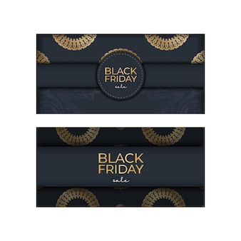 Modèle d'annonce de promotion du vendredi noir en bleu foncé avec motif doré vintage