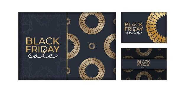 Modèle d'annonce de promotion du vendredi noir en bleu foncé avec ornement en or vintage