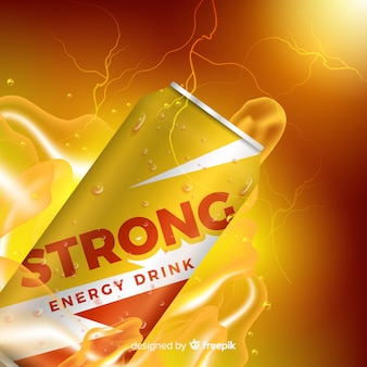 Modèle d'annonce réaliste de boisson énergisante