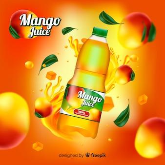 Modèle d'annonce réaliste de jus de mangue