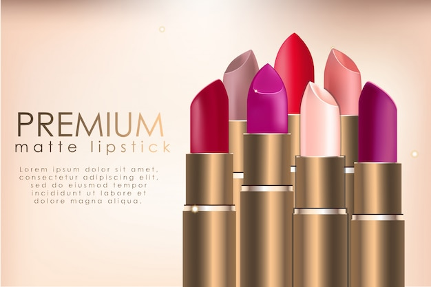 Modèle d'annonce de rouge à lèvres réaliste