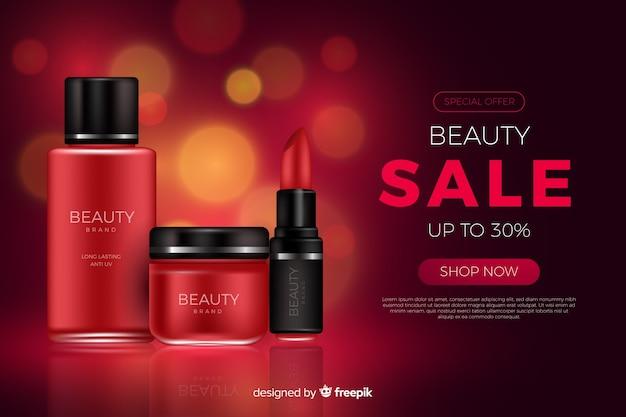 Modèle d'annonce de vente de beauté réaliste