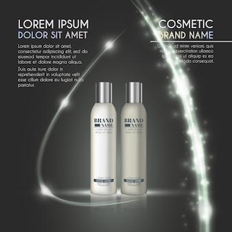 Modèle d'annonces de bouteille cosmétique réaliste 3d