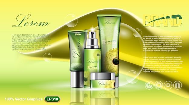 Modèle d'annonces de collections cosmétiques, avec fond jaune abstrait