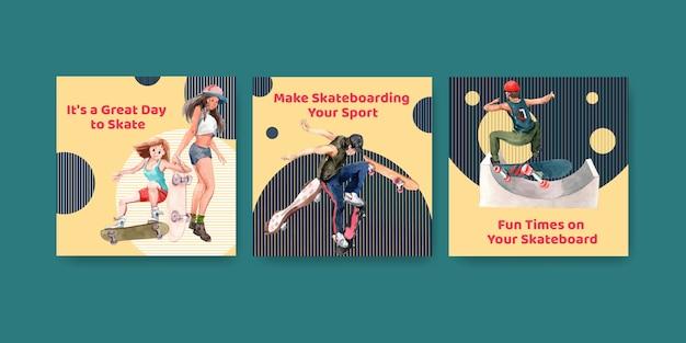 Modèle d'annonces avec concept de design de planche à roulettes pour la publicité et l'illustration vectorielle aquarelle dépliant.