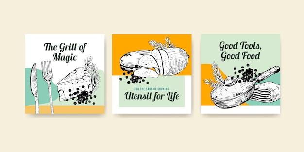 Modèle d'annonces avec la conception de concept d'appareils de cuisine pour la publicité d'illustration vectorielle