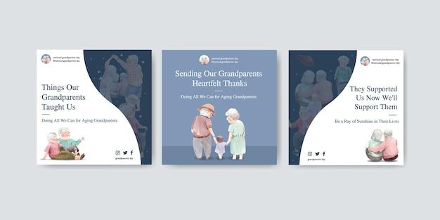 Modèle d'annonces avec la conception de concept de jour national des grands-parents pour la publicité et le marketing aquarelle.