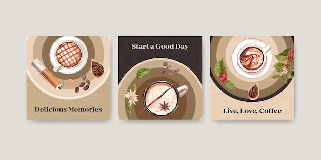 Modèle d'annonces avec conception de concept de journée internationale du café pour la publicité et le marketing aquarelle