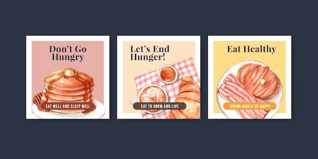 Modèle d'annonces avec conception de concept de journée mondiale de l'alimentation pour la publicité et le marketing aquarelle