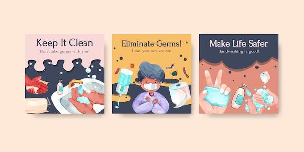 Modèle d'annonces avec la conception de concept de journée mondiale du lavage des mains pour la publicité et l'aquarelle de dépliant