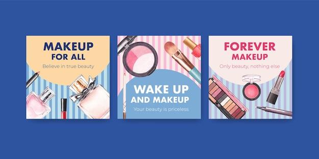 Modèle d'annonces avec conception de concept de maquillage pour le marketing et l'aquarelle commerciale.