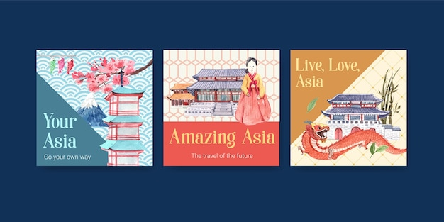 Modèle d'annonces avec la conception de concept de voyage en asie pour le marketing et la publicité d'illustration vectorielle aquarelle
