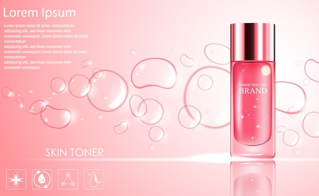 Modèle d'annonces cosmétiques avec un emballage de bouteille rose