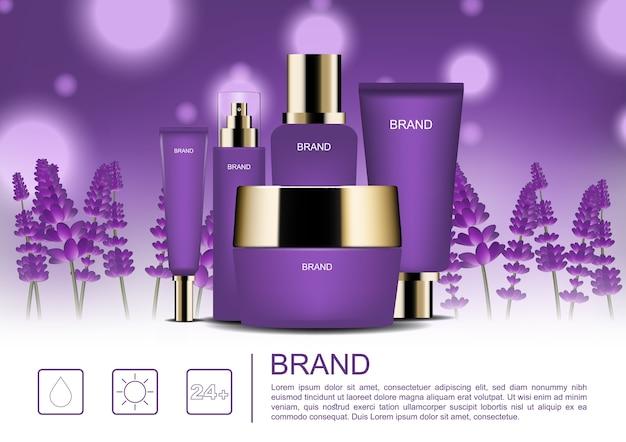 Modèle d'annonces cosmétiques, produits de soins de la peau sur fond de champ de lavande