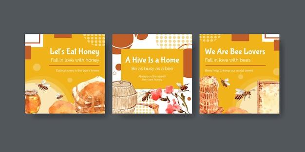 Modèle d'annonces avec du miel pour le marketing et la publicité pour l'aquarelle
