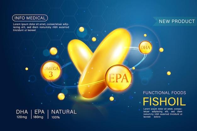 Modèle d'annonces d'huile de poisson, oméga-3. illustration 3d.