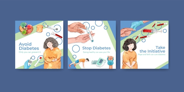 Modèle d'annonces avec la journée mondiale du diabète pour l'aquarelle marketing