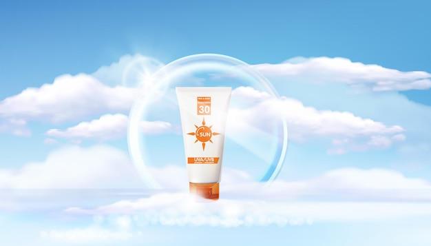 Modèle d'annonces de protection solaire, conception de produits cosmétiques de protection solaire avec blur sea, anneau lumineux