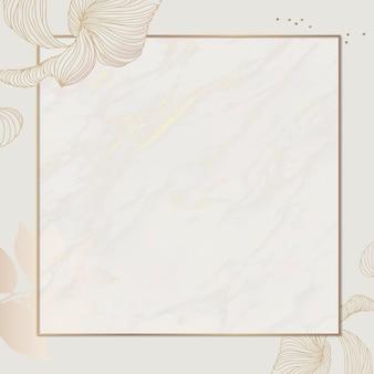 Modèle d'annonces sociales cadre carré floral doré