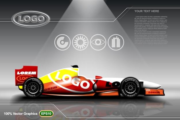 Modèle d'annonces de voitures de course simulé