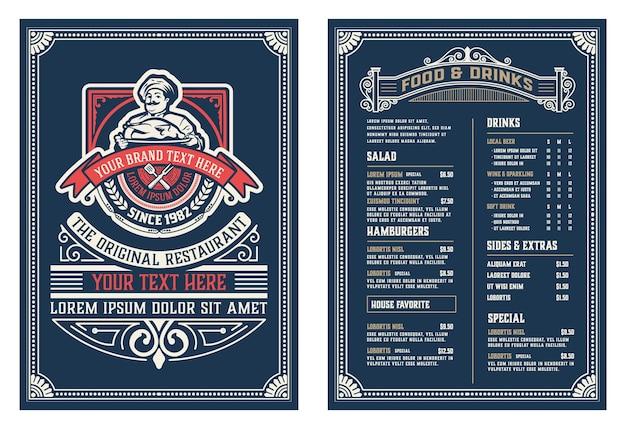 Modèle antique pour la conception de menus de restaurant avec illustration du chef