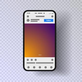 Modèle d'application de médias sociaux interface mobile illustration de cadre photo un fond transparent