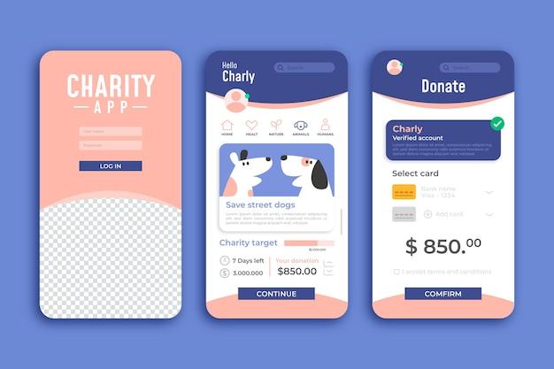 Modèle d'application pour smartphone de charité