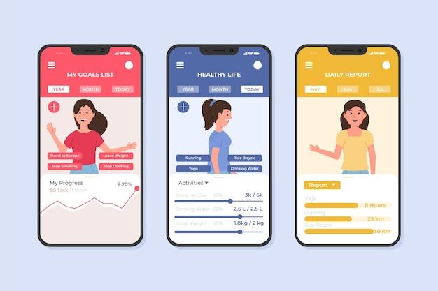 Modèle d'application pour smartphone objectifs et habitudes