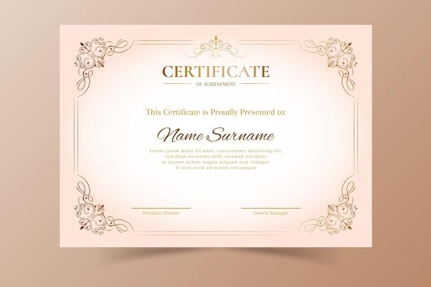 Modèle d'appréciation de certificat élégant