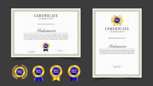 Modèle d'appréciation de certificat or
