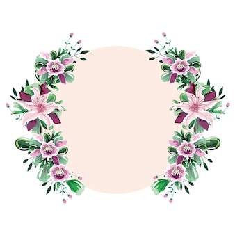 Modèle aquarelle de cadre de cercle de fleurs