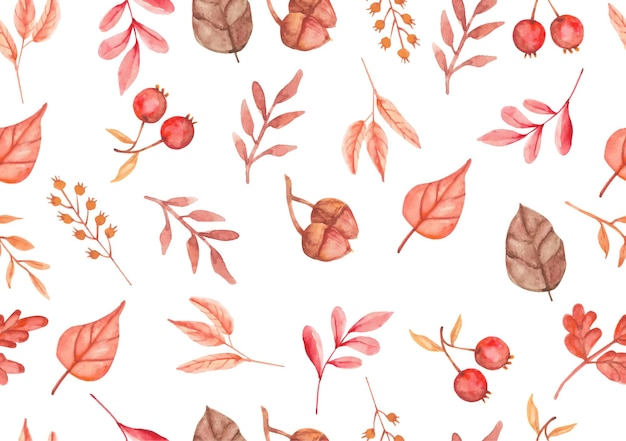 Modèle d'aquarelle de feuilles d'automne