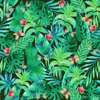 Modèle aquarelle avec des feuilles et des fleurs tropicales