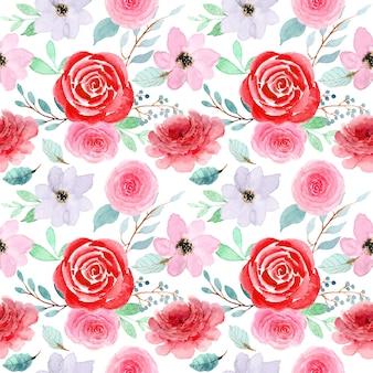 Modèle aquarelle fleur rose rouge