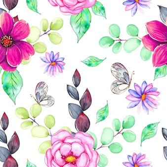 Modèle aquarelle avec fleurs colorées