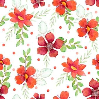 Modèle aquarelle avec fleurs et feuilles rouges