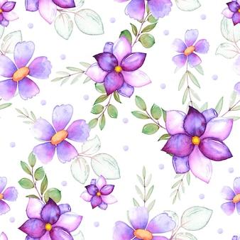 Modèle aquarelle avec fleurs et feuilles violettes