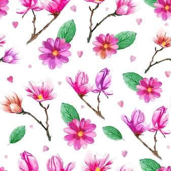 Modèle aquarelle avec fleurs roses