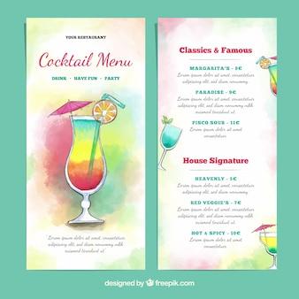 Modèle aquarelle de menu de cocktails