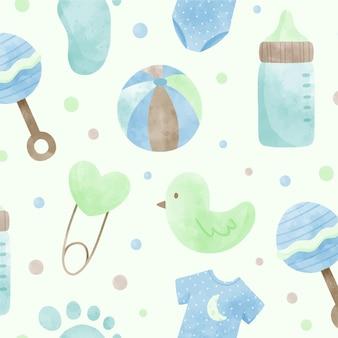Modèle aquarelle mignon de douche de bébé