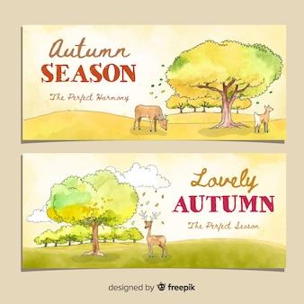 Modèle d'aquarelle de modèle de bannières automne